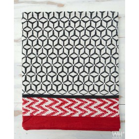 NAPPE COTON 100% BLOCK-PRINT 270 cm x 170 cm - RED AND BLACK