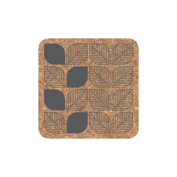 set de 4 dessous de verre en li ge leaf gris b do. Black Bedroom Furniture Sets. Home Design Ideas
