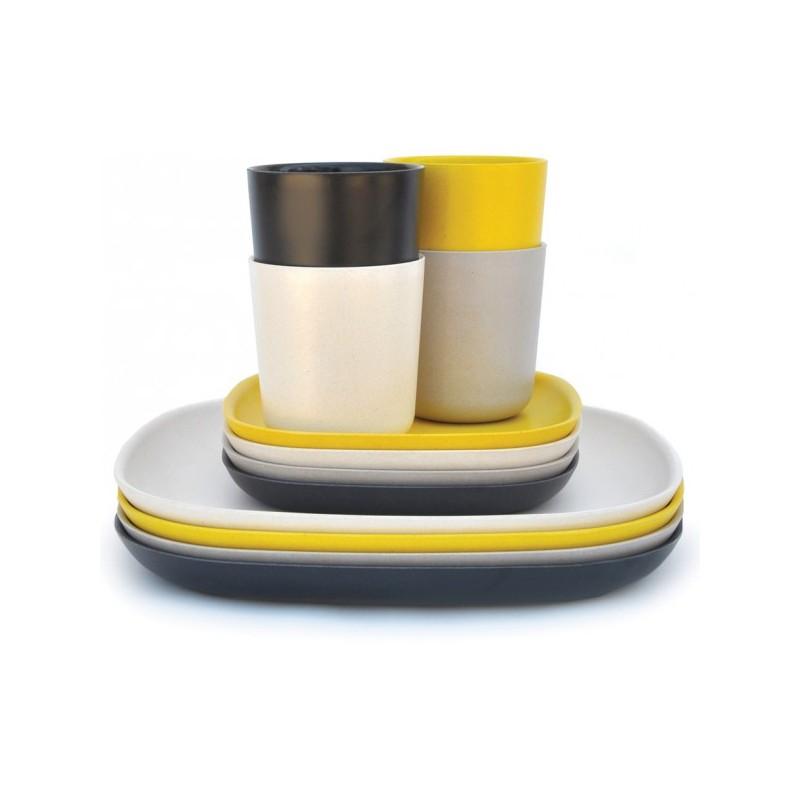 petite assiette en fibre de bambou beige 18x18x2 cm b do. Black Bedroom Furniture Sets. Home Design Ideas
