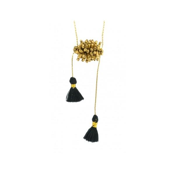 Sautoir Laiton et Perles Pompon Noir