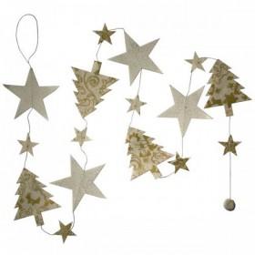 Guirlande papier lokta étoiles et sapins blanc et doré Lamali