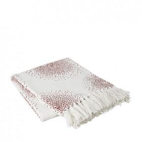 Plaid Pur Coton BROSTE COPENHAGEN Blanc et Rose