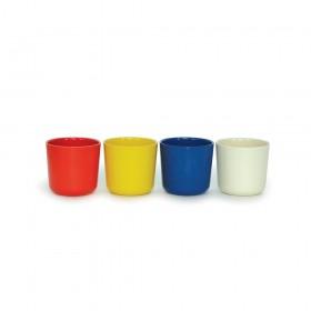 Set de 4 Gobelets Biobu en Fibre de Bambou Bleu, blanc, rouge, jaune