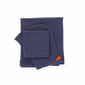 Set Cape de Bain et Débarbouillette en Coton Biologique Midnight Blue Ekobo Home