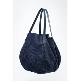 Grand sac en toile denim anses en cuir Marine