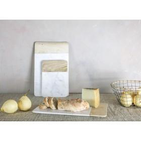Planche à découper, à fromage ou apéro en marbre blanc et bois de manguier Petit Modèle