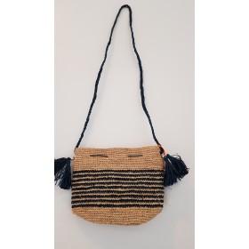 Sac Crochet Raphia BOMBOA Naturel Rayures bleu indigo Le Voyage en Panier