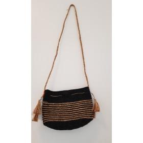 Sac Crochet Raphia BOMBOA Noir Rayures Naturel Le Voyage en Panier