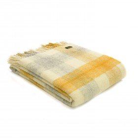 PLAID 100% PURE LAINE MEADOW CHECK Jaune