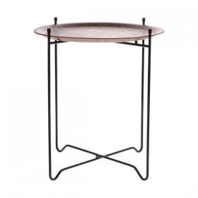 Table d'appoint, plateau en noyer pied en métal